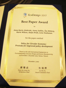 Diplom Best Paper Award - EcoDesign 2017